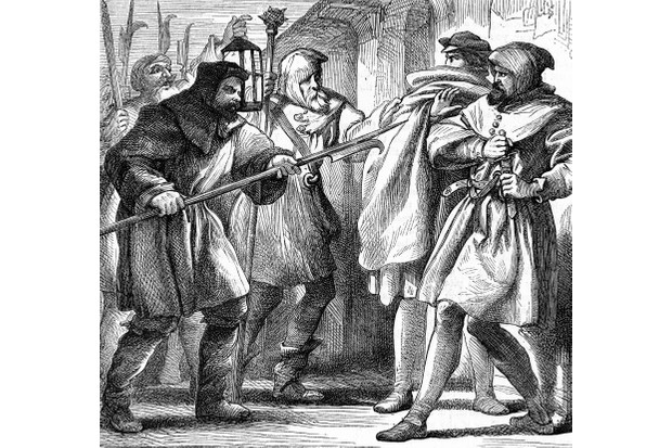 An illustration showing the characters Dogberry and Verges accosting two individuals.