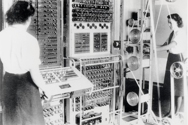 Women of the WRNS operate the Colossus, the world's first electronic programmable computer at Bletchley Park in Buckinghamshire