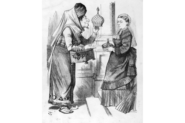 A cartoon from Punch depicting Disraeli dressed as Aladdin offering the crown of India to Victoria. (Hulton Archive/Getty Images)