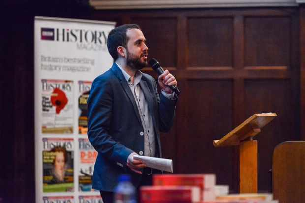 BBC History Magazine editor Rob Attar, speaking at a History Weekend event.