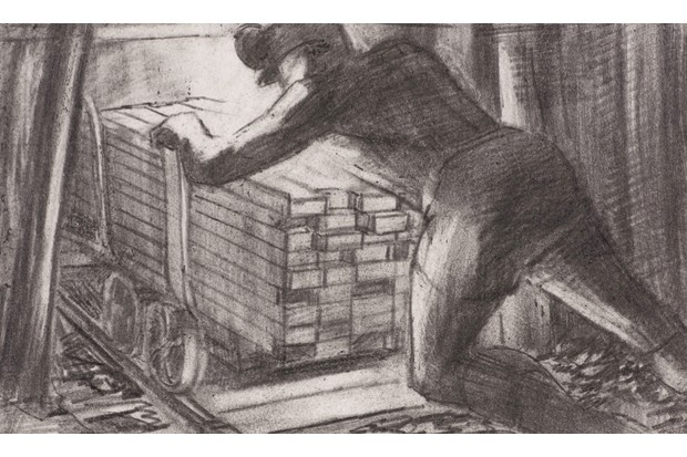 A 20th-century sketch of a miner pushing a heavy load