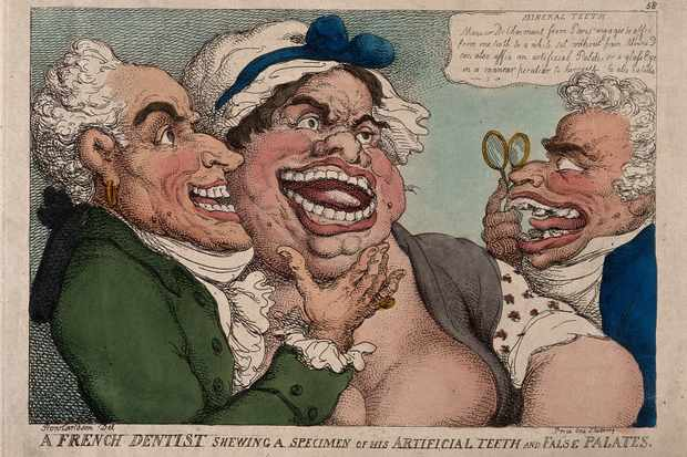 N Dubois de Chémant demonstrating his own, and a grotesque female patient's false teeth, to a prospective male patient with grossly disfigured teeth. (Wellcome Collection)