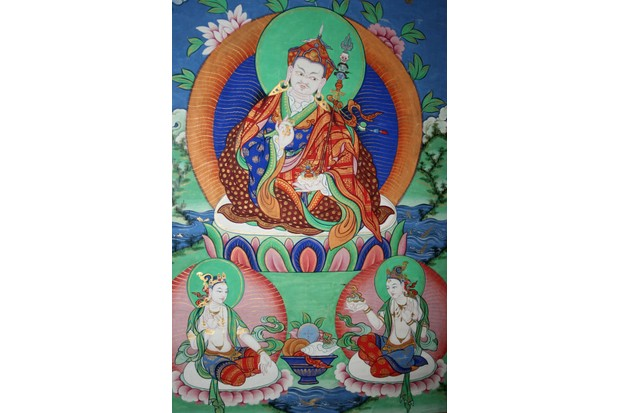 The Sage Guru Rinpoche (Padmasambhava) with his two consorts, Mandarava and Yeshe Tsogyal. (Photo by Sabena Jane Blackbird / Alamy Stock Photo)