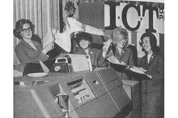 The ICT Demonstration Team photo from 1964. These women trained customers how to use their computers. From left to right: Carole Tucker, Carol Philbrick, Carol Jordan, and Dorine Conway. (Photo courtesy of Marie Hicks)