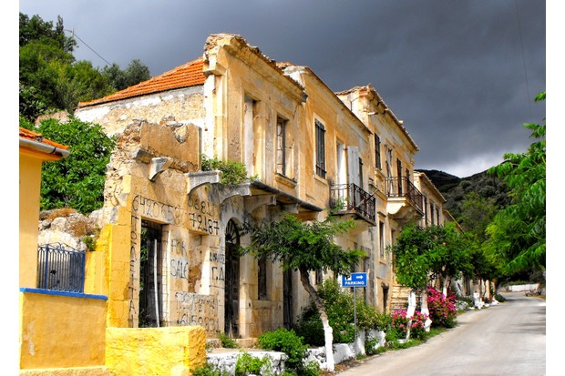 A house in Assos, Kefalonia, damaged by an earthquake in 1953 by Braden Christopher Godden - Braintree, UK (top shot)