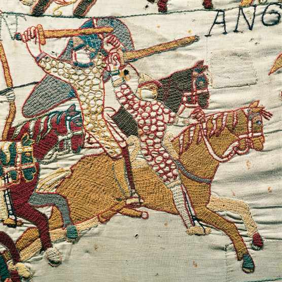 Norman cavalry on the charge in the Bayeux Tapestry. (Image by Bettmann/Getty Images)