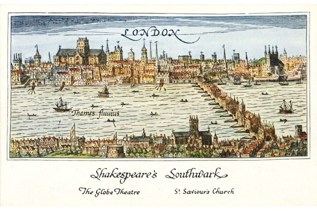 A panorama of 16th-century London, showing Southwark and the Globe theatre. (Photo by Culture Club/Getty Images)