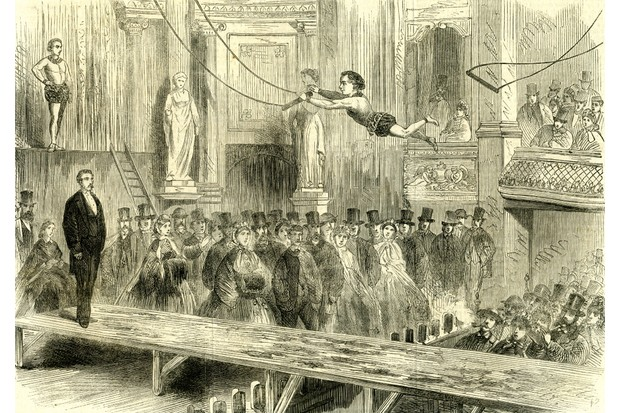 London's East End sported some dazzling pastimes, including diversions offered by the music halls. An illustration of Oxford Music Hall, Westminster, in 1862. (Photo by: Universal History Archive/UIG via Getty Images)