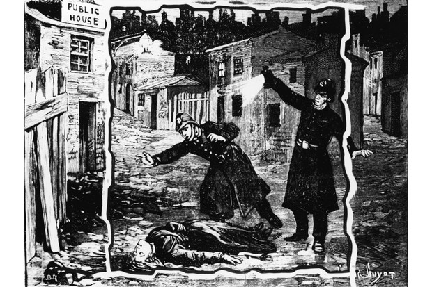An illustration shows the police discovering the body of one of Jack the Ripper's victims in 1888. The serial killer bears much responsibility for the reputation of London's East End, says Sinclair Mackay. (Photo by Hulton Archive/Getty Images)