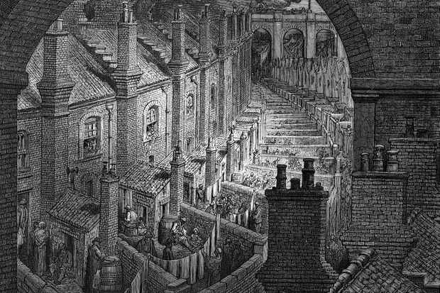 An 1870s illustration of a typical London artisan terraced houses with washhouses, privies and yards leading on to an alley, all dominated by railway viaducts. (Photo by Oxford Science Archive/Print Collector/Getty Images)
