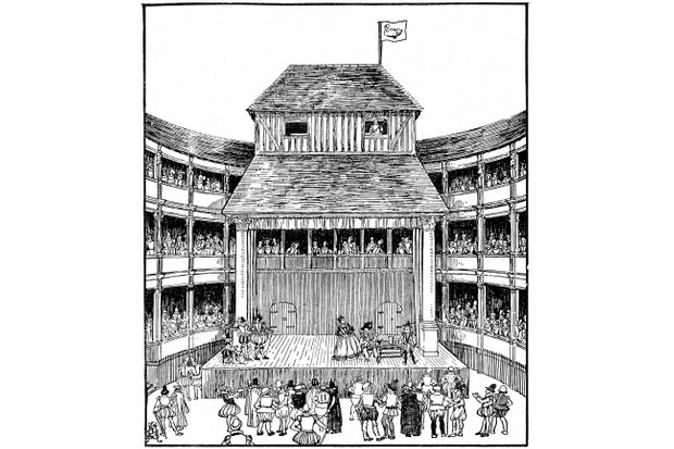 An artist's reconstruction of a 16th-century playhouse in the time of Elizabeth I. Most scholars agree that the Globe was hexagonal in shape. (Photo by Ann Ronan Pictures/Print Collector/Getty Images)