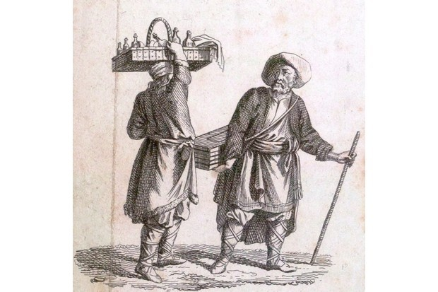 A print of an 18th-century liquor seller. (Photo by Universal History Archive/UIG via Getty Images)