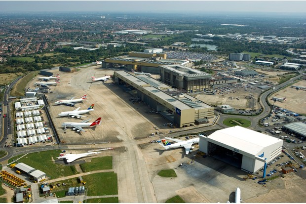 An aerial view of Heathrow Airport showing the service area with Boeing 747 and Concorde aircraft, 2006. (Photo by English Heritage/Heritage Images/Getty Images)