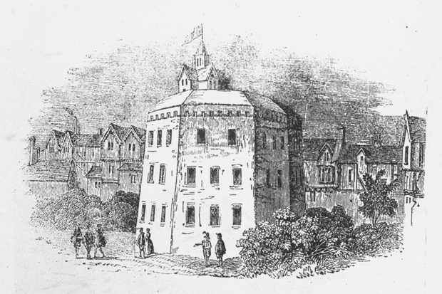 First built in 1576, the Globe theatre burnt to the ground in 1613. During a performance of the play now known as 'Henry VIII', a set of stage cannons were fired and a piece of flaming material from one of the cannons landed on the theatre's thatched roof, causing the fire. (Photo by Time Life Pictures/Mansell/The LIFE Picture Collection/Getty Images)