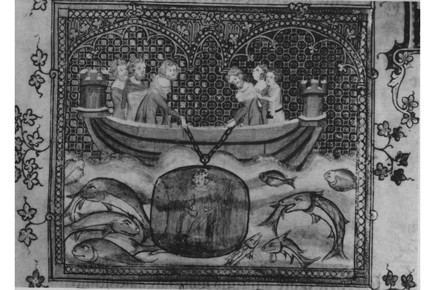 GettyImagesA 14th-century illustration showing Alexander the Great in a diving bell lowered from a small boat. (Photo by Hulton Archive/Getty Images)-51244859