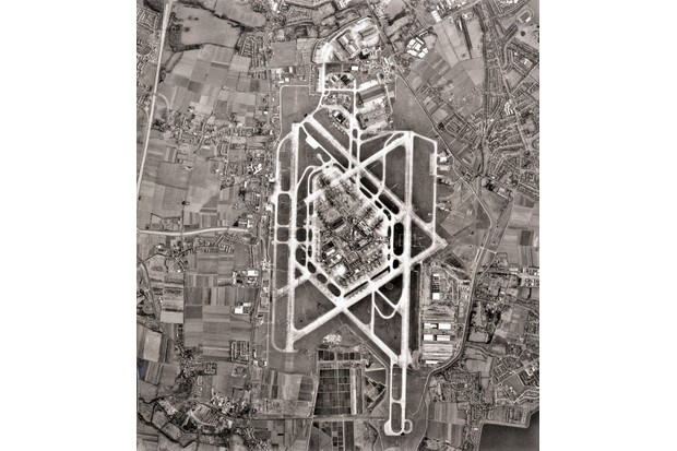 The view as seen by airline pilots when approaching Heathrow – from an altitude of 12,500 feet – in 1968, made by Fairey Surveys Limited. From this height the runways appear to be a five-point star. (Photo by Bettmann/Getty Images)