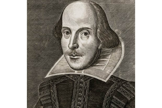 An engraving from an early portrait of William Shakespeare, published on the title page of the First Folio of Shakespeare's plays, 1623. (Photo by GraphicaArtis/Getty Images)