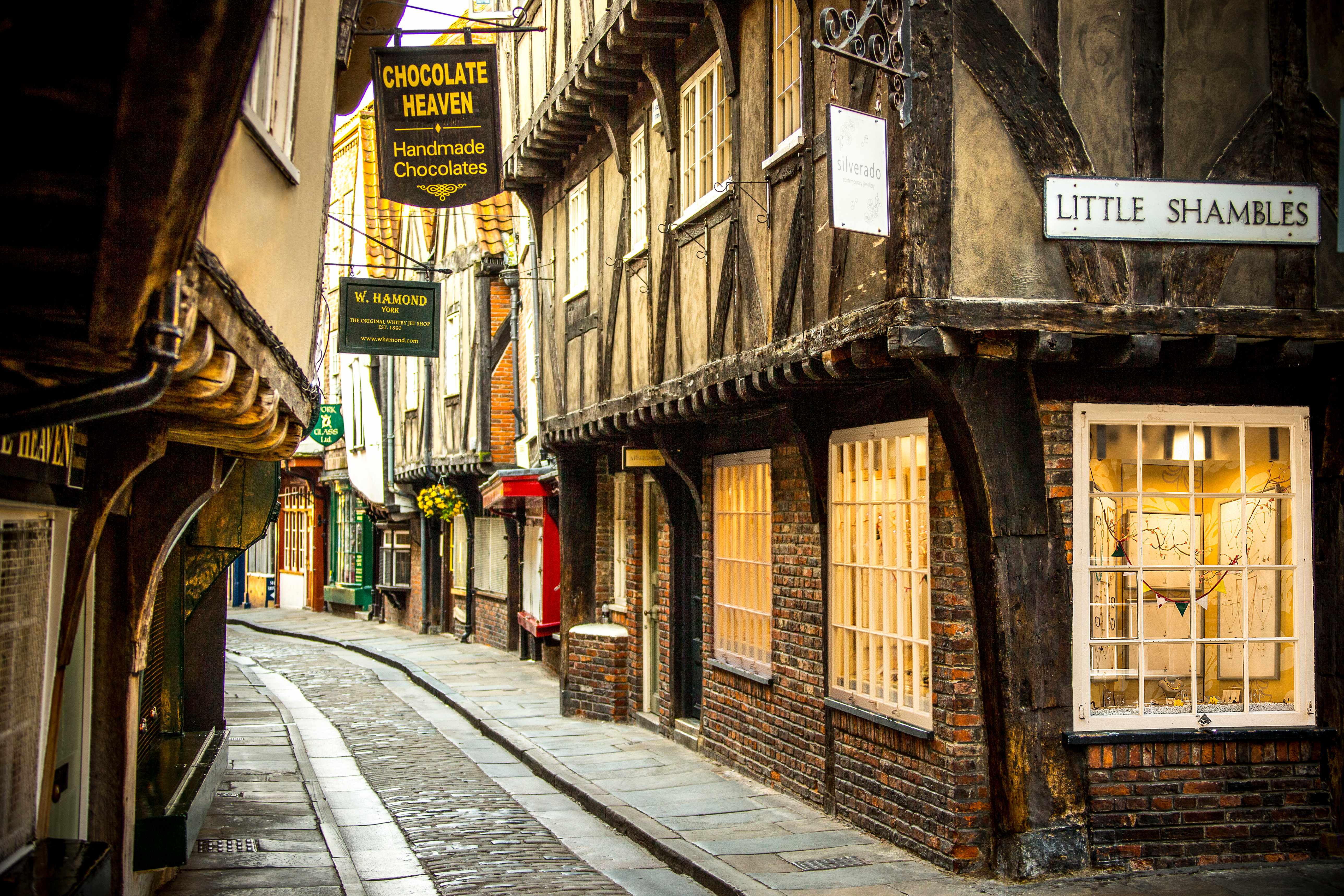 An old street in York, England, with overhanging timber-framed buildings, some dating back as far as the 14th century. (Photo by VisitBritain/Andrew Pickett via Getty Images)