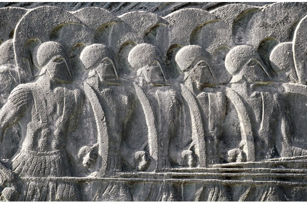 A relief depicting a Macedonian phalanx, Thessaloniki, Greece. (Photo by DeAgostini/Getty Images)