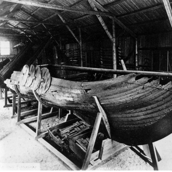 The remains of a Viking longship found at Gokstad in South Norway, c1920. (Photo by Rischgitz/Getty Images)