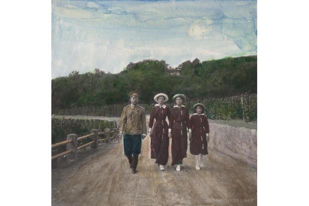 Tsar Nicholas II with three of his daughters: Tatiana, Olga and Anastasia, in Livadia, Crimea in 1913. (Photo courtesy of Romanovs100)