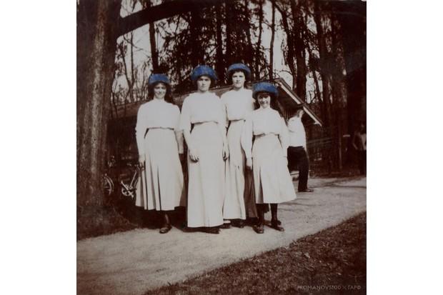 The four daughters of Tsar Nicholas II and Tsarina Alexandra Feodorovna: Maria, Olga, Tatiana and Anastasia, photographed in Tsarskoe Selo, Russia, in 1913. (Photo courtesy of Romanovs100 project)