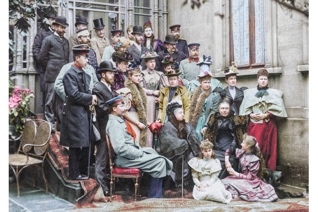 Digital colourist Marina Amaral has added colour to this photograph of Queen Victoria and her extended family, as part of the Romanovs100 project. (Photos courtesy of Romanovs100 project)