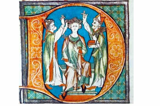 An illustration of King Arthur's coronation, from the 13th-century Flores Historiarum. Taken from 'The Island Race', a 20th-century book written by Sir Winston Churchill that covers the history of the British Isles from pre-Roman times to the Victorian era. (Photo by World History Archive/Alamy Stock Photo)