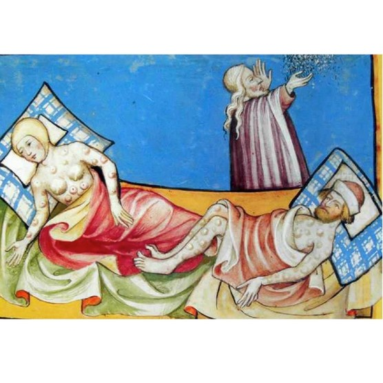 Miniature depicting a couple suffering from the Black Death, the bubonic plague that swept Europe in the Middle Ages. (VCG Wilson/Corbis via Getty Images)