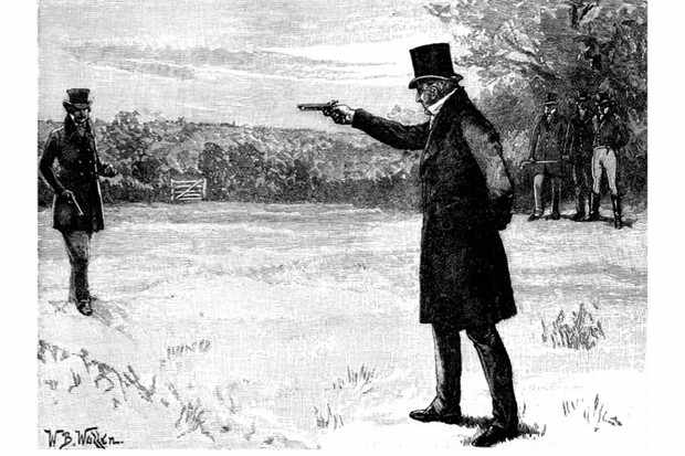 The Duke of Wellington and the Earl of Winchilsea in a duel at Battersea Fields. (Culture Club/Getty Images)