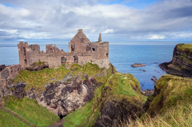 The ruins of Dunluce Castle, which sit on the coastal cliffs of North Antrim in Northern Ireland. They are thought to have been the inspiration for CS Lewis's castle Cair Paravel in 'The Chronicles of Narnia' (1950–56). (Photo by Andrea Ricordi/Contributor/Getty Images)