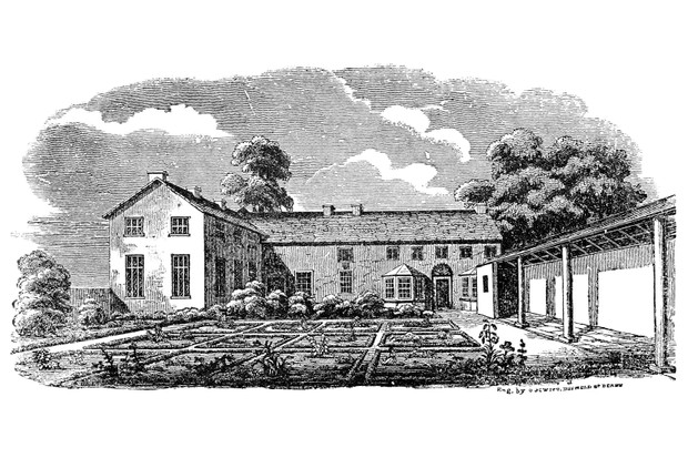 A 19th-century wood engraving of the Lowood School in Charlotte Brontë's 'Jane Eyre'. (Photo by Granger Historical Picture Archive/Alamy Stock Photo)