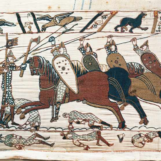 A scene from the Bayeux Tapestry depicting the Norman conquest of England in 1066. (Photo by DEA/M. SEEMULLER via Getty Images)