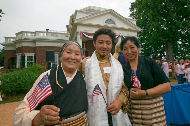A Tibetan immigrant and family are 'naturalized' at the Independence Day Naturalization Ceremony on July 4, 2005 at Thomas Jefferson's home, Monticello, Virginia. (Photo by Visions of America/UIG via Getty Images)