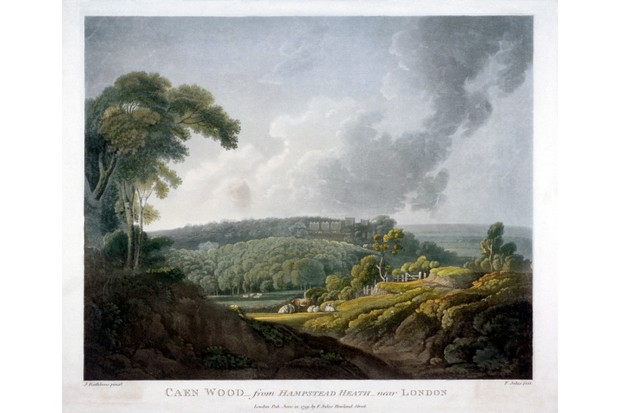 In the 18th-century, the pace of change within the city of London was highly evident to witnesses, as the surrounding countryside soon filled with new development. Here, a painting depicts a view of Caen Wood from Hampstead Heath. (Photo by Guildhall Library Art Gallery/Heritage Images/Getty Images)