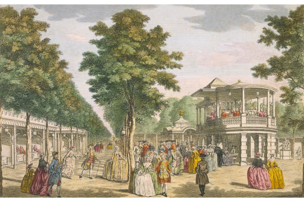 "Vauxhall Gardens, Lambeth, 18th century. The fashionable gardens offered ""a fantasy world"" to 18th-century Londoners. (Photo by Museum of London/Heritage Images/Getty Images)"