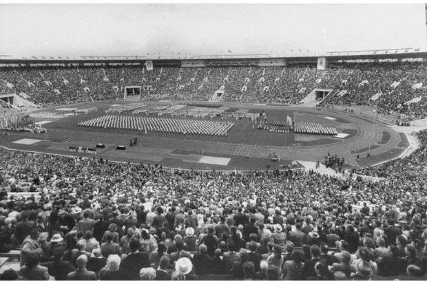 The opening day of Spartakiada, a Russian festival of sports held at the VI Lenin Stadium in 1956. (Photo by James Whitmore/The LIFE Images Collection/Getty Images)