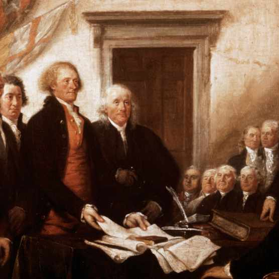A depiction of the signatories of the Declaration of Independence, 4 July, 1776, from a painting by John Trumbull. The men standing are (l to r) John Adams, Roger Sherman Robert R. Livingston, Thomas Jefferson and Benjamin Franklin. (Image by Bettmann/Getty Images)