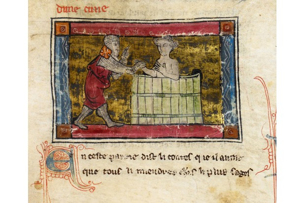 Lancelot rescuing a lady from a tub, found in the collection of British Library. (Photo by Fine Art Images/Heritage Images/Getty Images)