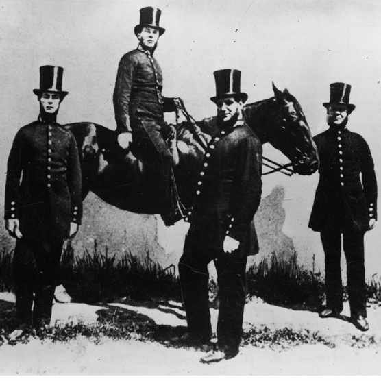 Members of the Bow Street Horse Patrol, one of the earliest mounted police forces in the world, London, early 1800s. The group, made up of former cavalry soldiers, was absorbed into Sir Robert Peel's Metropolitan police force in 1836. (Photo by Mansell/The LIFE Picture Collection/Getty Images)