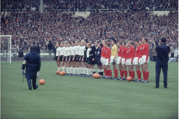 The teams from England and West Germany line up with match officials before the World Cup final, 1966. (Photo by Fox Photos/Getty Images)