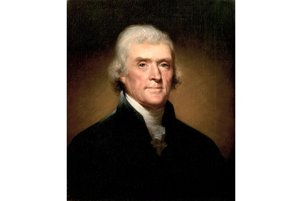 A portrait of Thomas Jefferson by Rembrandt Peale. Later the third president of the United States between 1801–09, Jefferson drafted most of the Declaration of Independence. (Photo by GraphicaArtis/Getty Images)