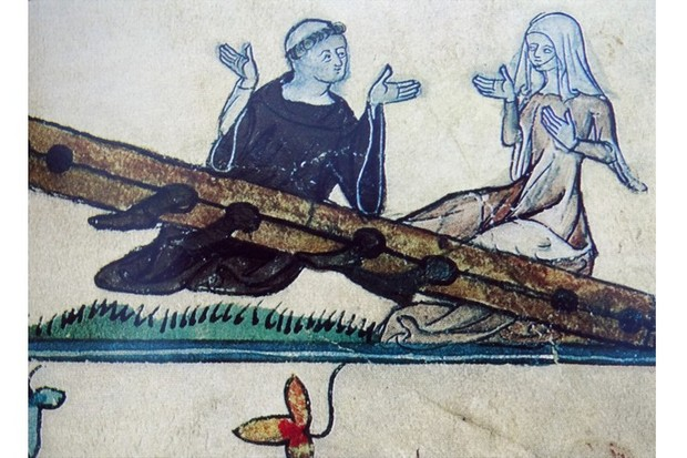 Miniature of a monk and his mistress in the stocks as a form of penitents. Taken from a book painted for Augustinian canons. Dated 12th Century (Photo by: Universal History Archive/UIG via Getty Images)