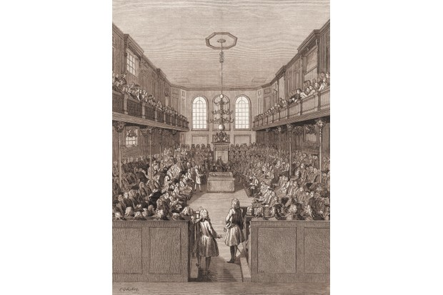 An engraving shows the House of Commons in Westminster, London, c1760. (Photo by Stock Montage/Getty Images)