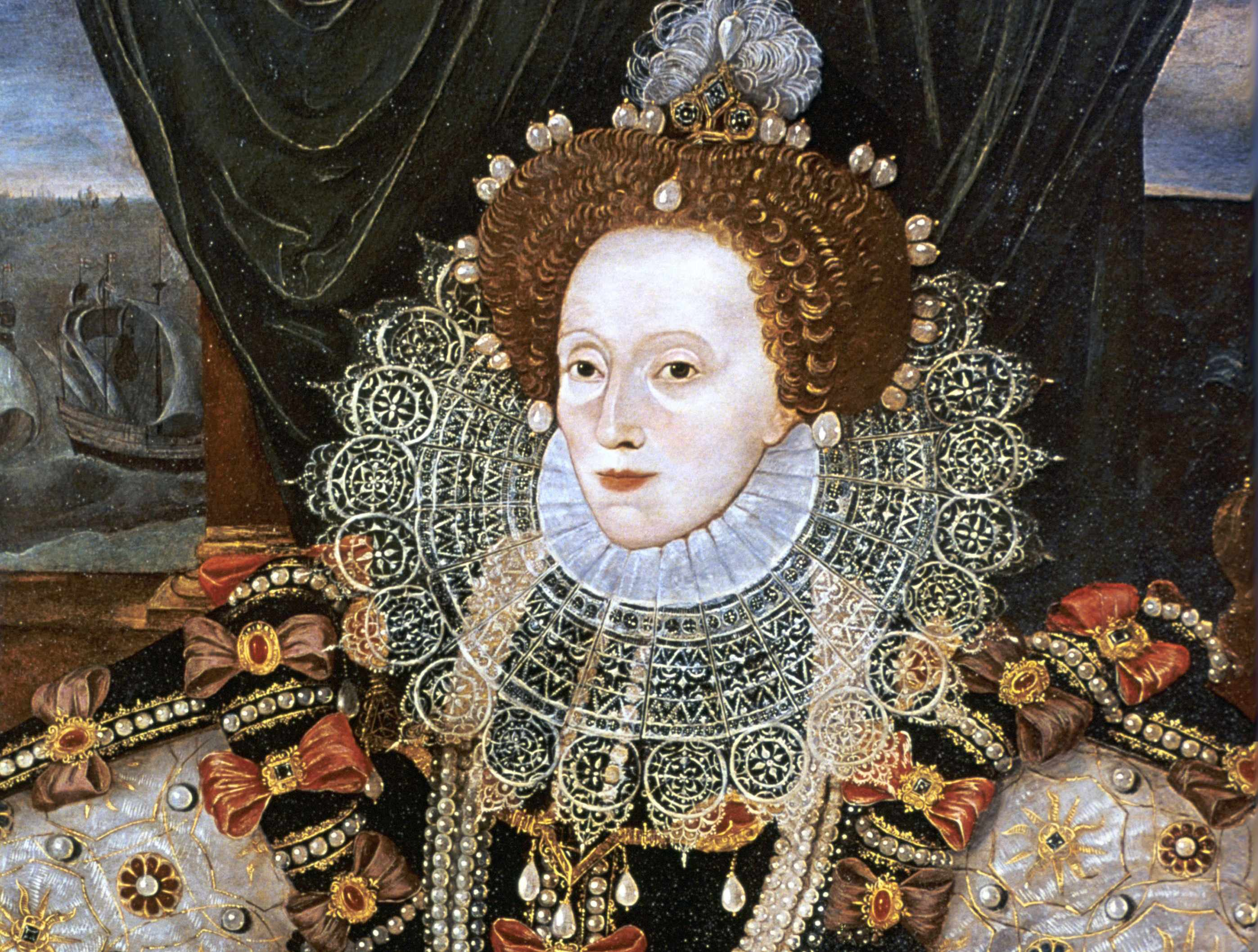 Elizabeth I, shown in a portrait commemorating victory over the Armada. (Photo by: Photo 12/UIG via Getty Images)