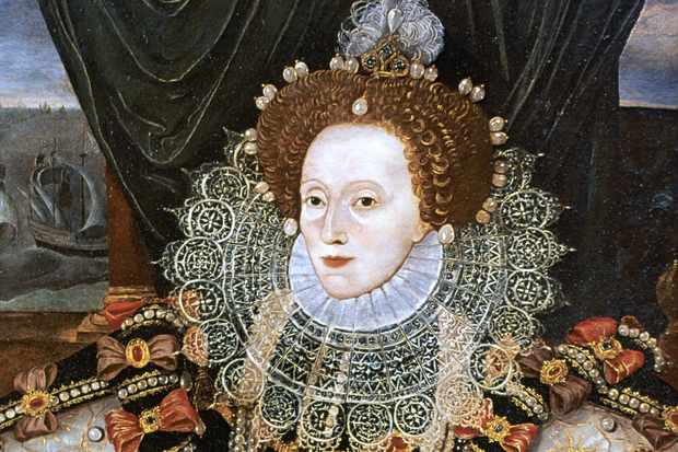 Elizabeth I, shown in a portrait commemorating victory over the Armada