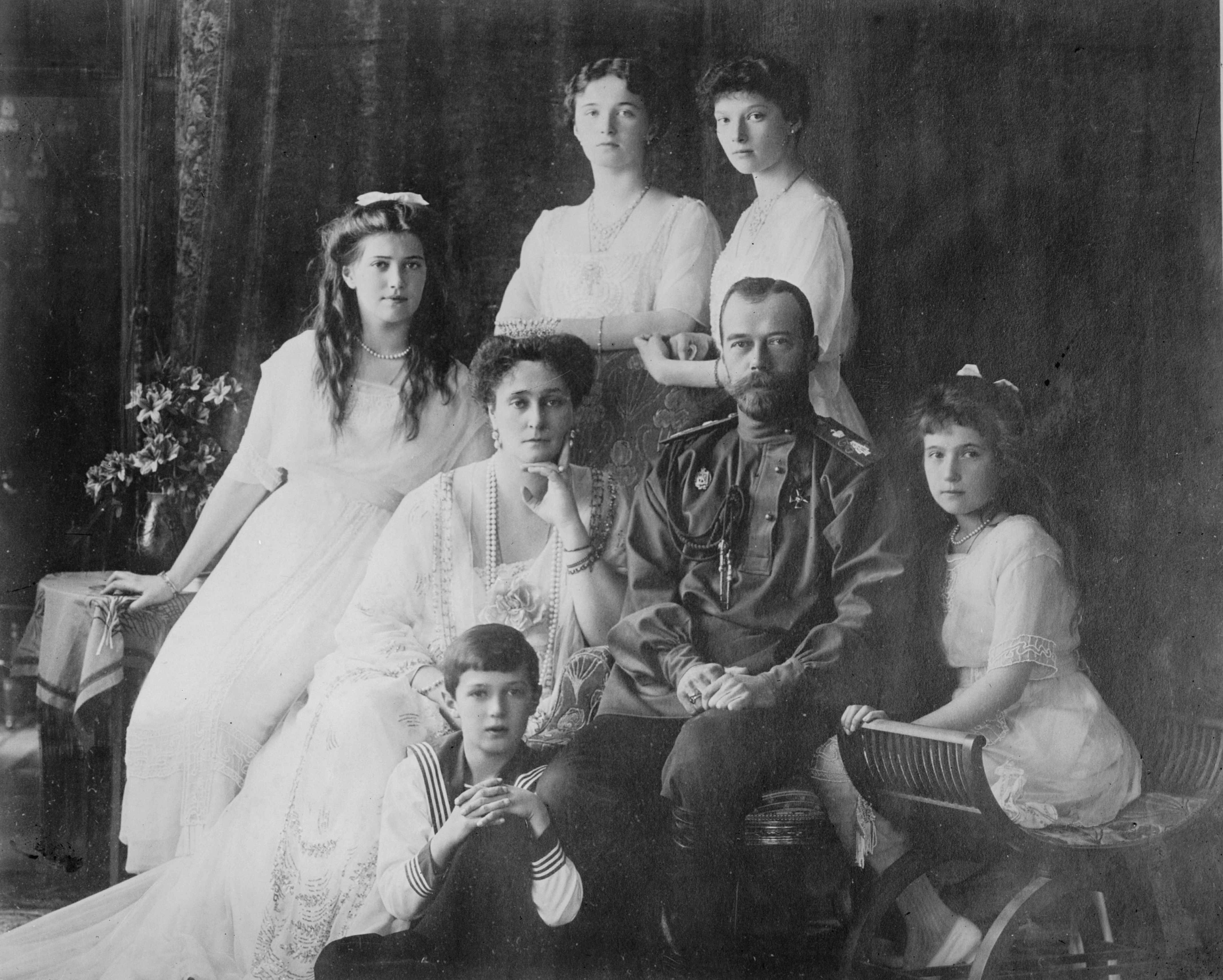 Happier days: The tsar and his family pose for a portrait in c1910, years before he was swept from power and murdered. Maria, Olga and Tatiana (left to right) are at the back. Alexandra and Nicholas are seated with Alexey at their feet. Anastasia is far right. (Photo by Getty Images)