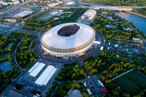 An aerial view of Luzhniki Stadium, one of the venue of the 2018 FIFA World Cup in Russia and the host of the final on Sunday 15 July. (Photo by Sergei BobylevTASS via Getty Images)