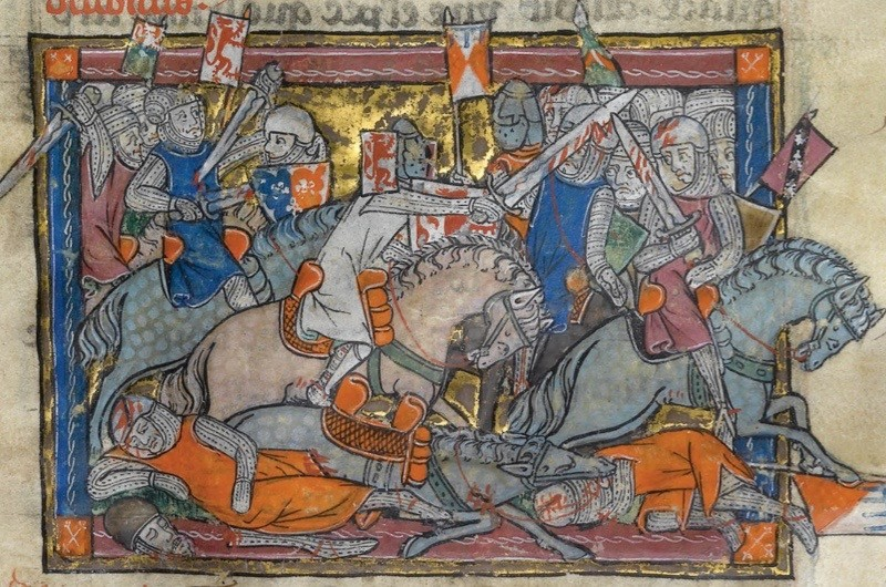 An illustration depicting King Arthur fighting the Saxons, from the Rochefoucauld Grail. The absence of a clear and present origin for King Arthur has created a 'void' which many are keen to fill, says Miles Russell. (Photo by Fine Art Images/Heritage Images/Getty Images)