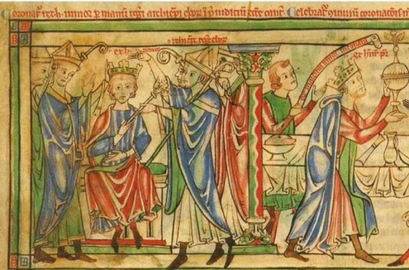 Henry the Young King is crowned in 1170. (Wikimedia Commons)
